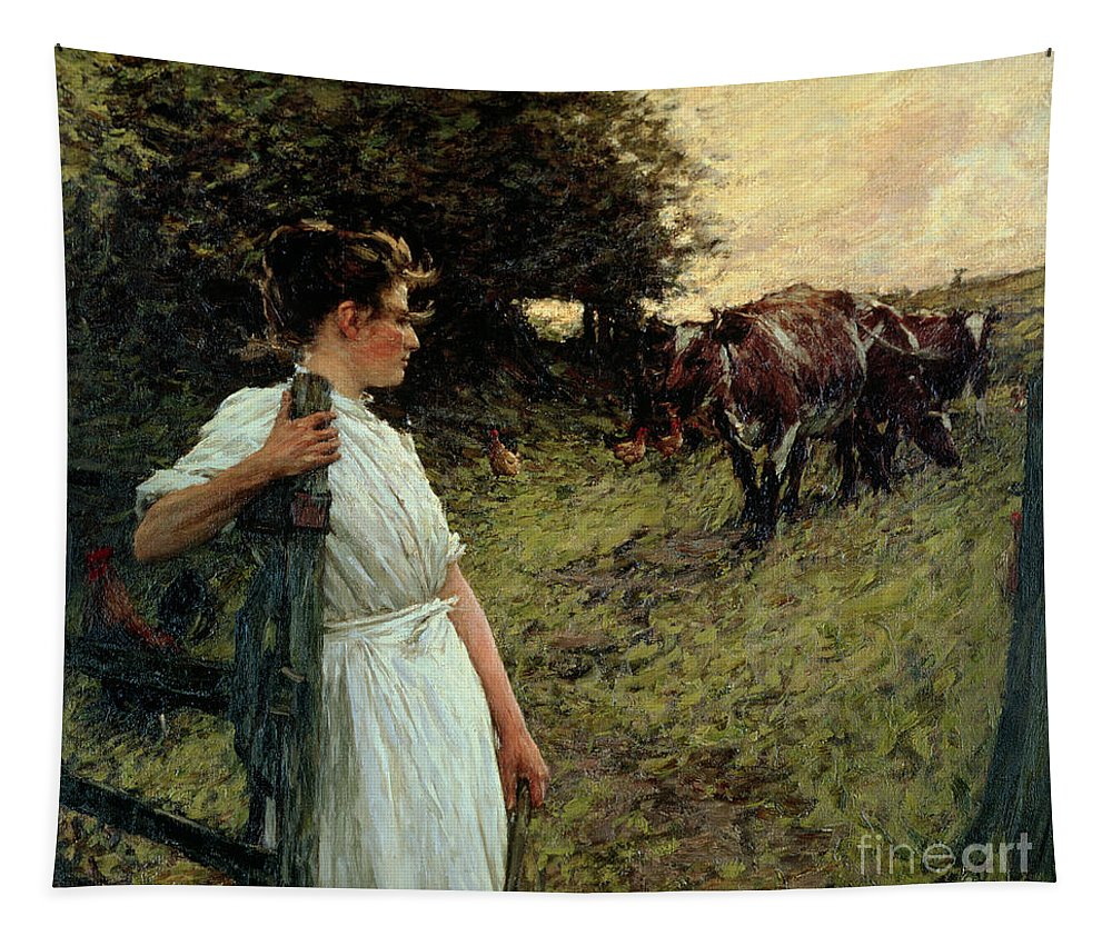 The Tapestry featuring the painting The Farmer's Daughter by Henry Herbert La Thangue