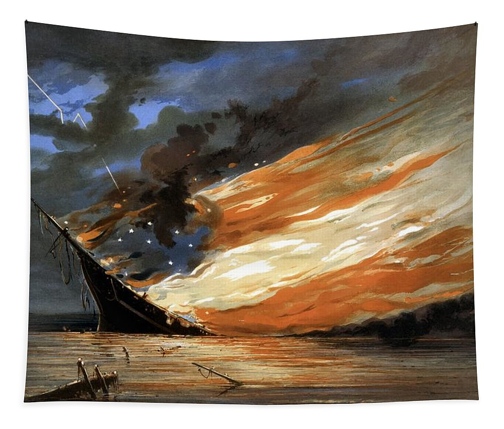 Civil War Tapestry featuring the painting The Fate Of The Rebel Flag by War Is Hell Store