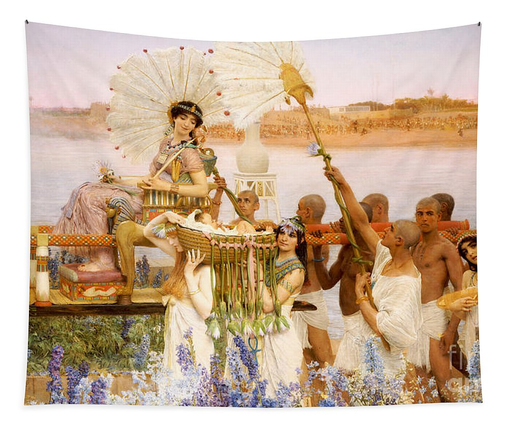 Moses Tapestry featuring the painting The Finding Of Moses by Sir Lawrence Alma Tadema