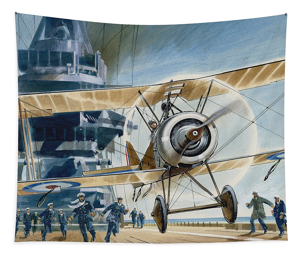 Ship Tapestry featuring the painting The First Deck Landing by Wilf Hardy
