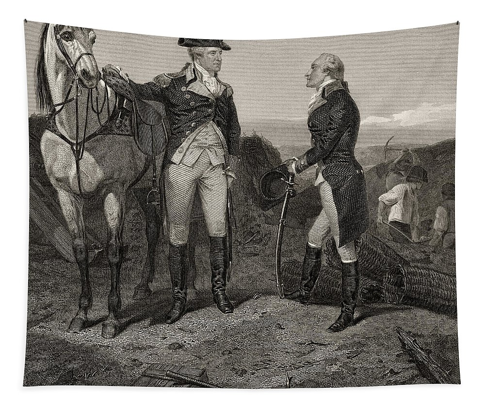 George Washington Tapestry featuring the drawing The First Meeting Of George Washington And Alexander Hamilton by Alonzo Chappel