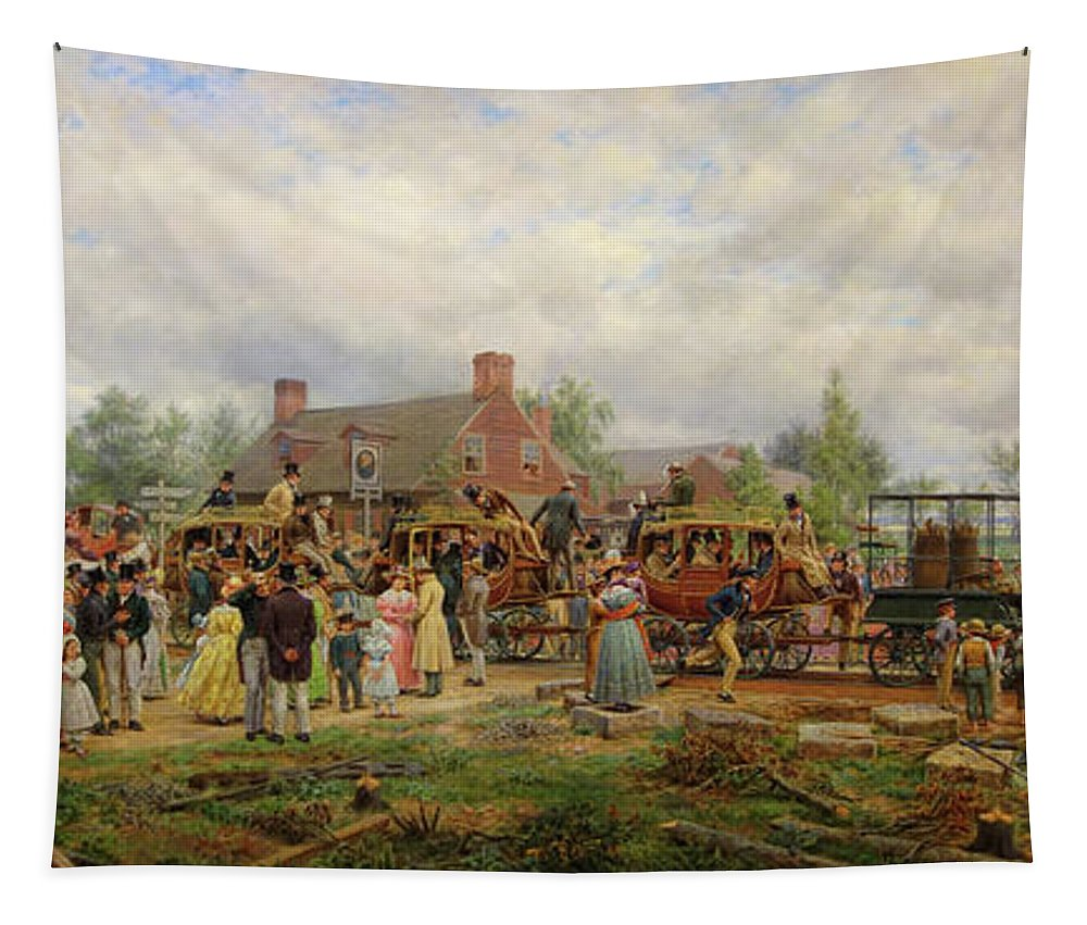 Painting Tapestry featuring the painting The First Railroad Train On The Mohawk And Hudson River by Mountain Dreams