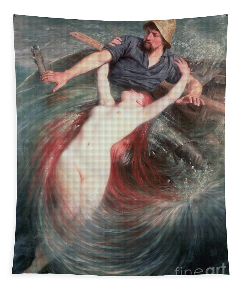 The Tapestry featuring the painting The Fisherman And The Siren by Knut Ekvall
