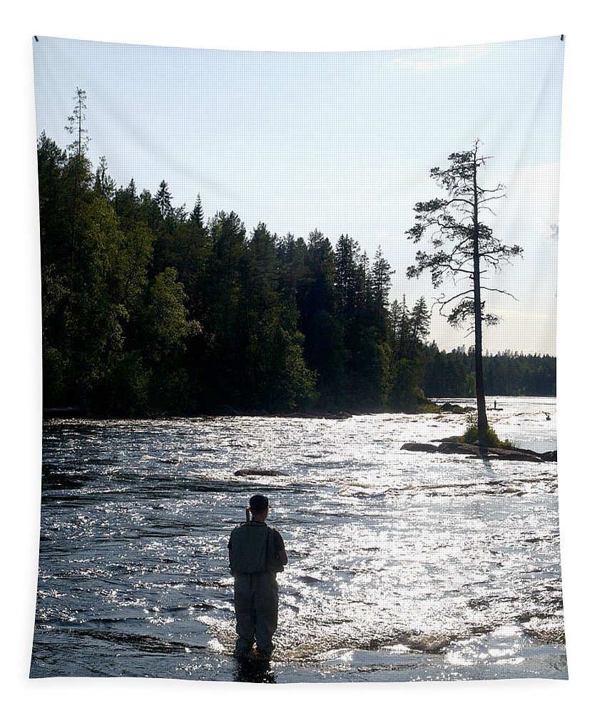 Lehtokukka Tapestry featuring the photograph The Fisherman by Jouko Lehto