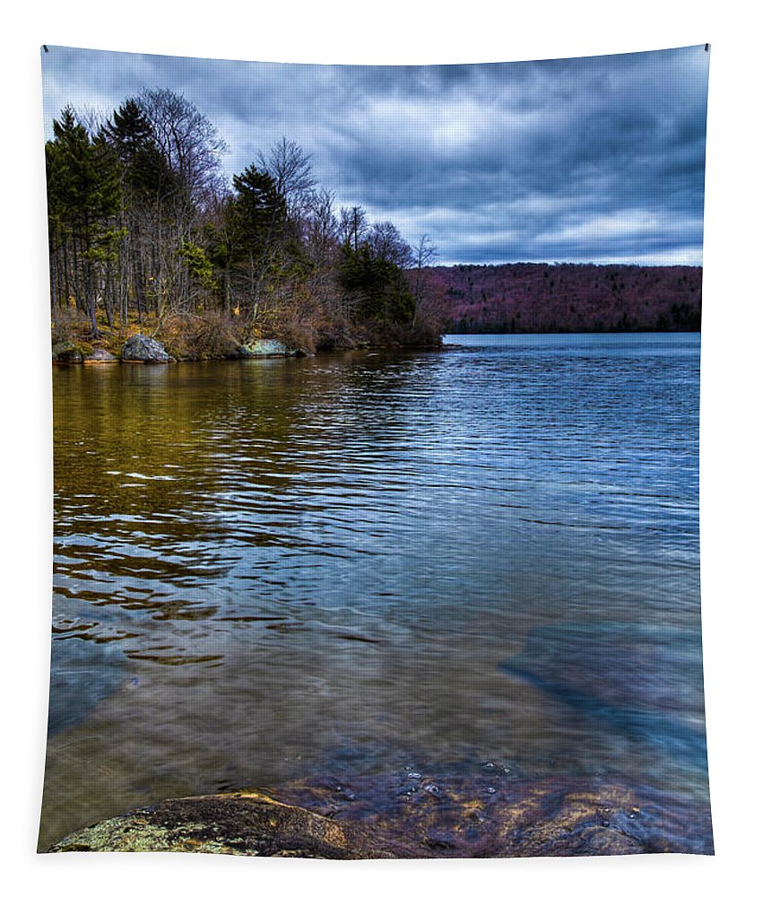 The Serenity Of Limekiln Lake Tapestry featuring the photograph The Fishing Rock On Limekiln by David Patterson