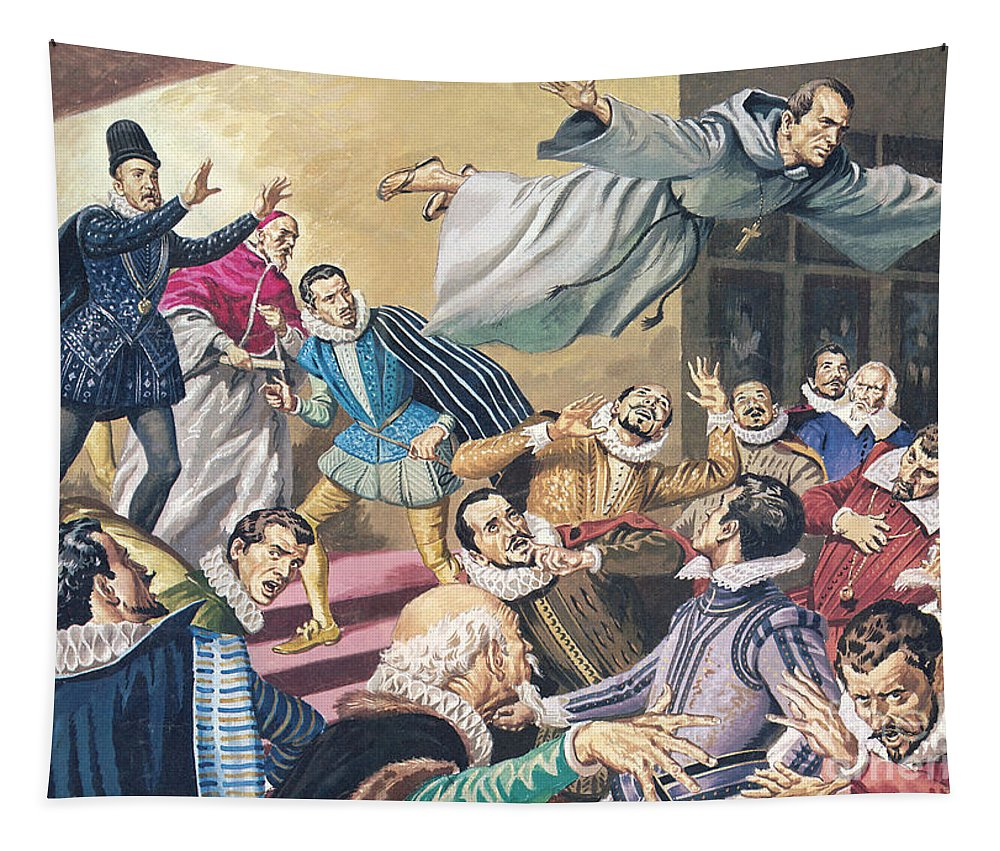 Flight Tapestry featuring the painting The Flight Of Father Dominic by English School