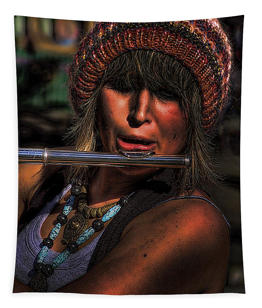 Flutist Tapestry featuring the photograph The Flutist by David Patterson