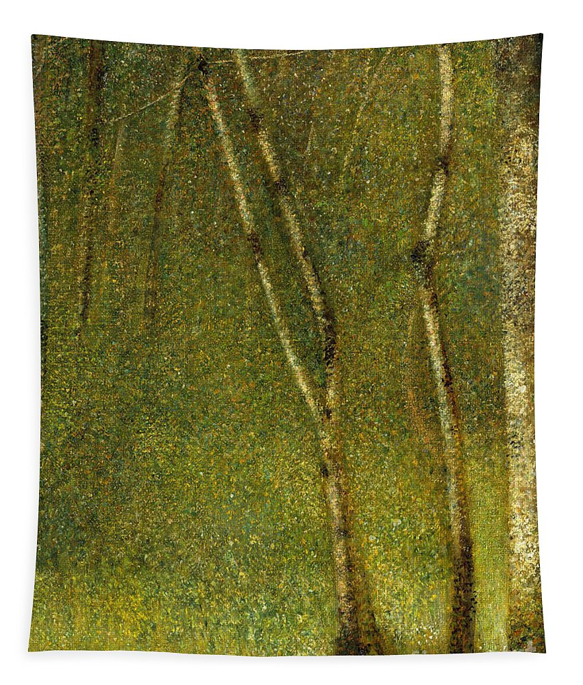 Seurat Tapestry featuring the painting The Forest At Pontaubert, 1881 by Georges Pierre Seurat