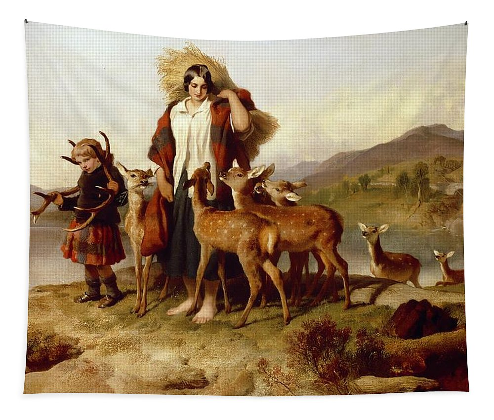 The Tapestry featuring the painting The Forester's Family by Sir Edwin Landseer