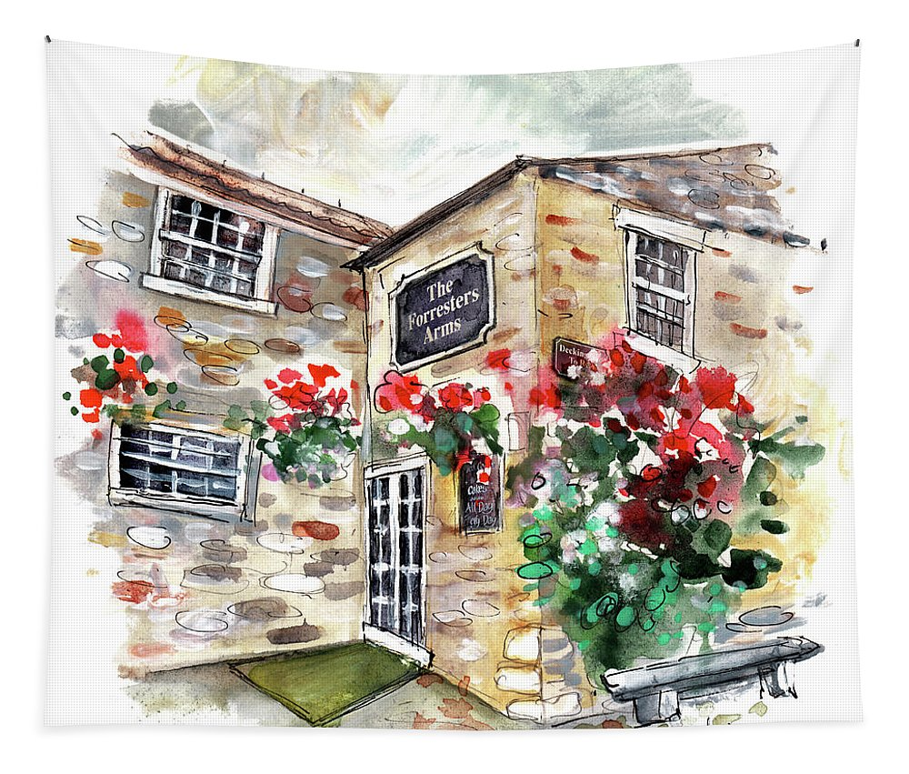 Travel Tapestry featuring the painting The Forresters Arms In Kilburn by Miki De Goodaboom