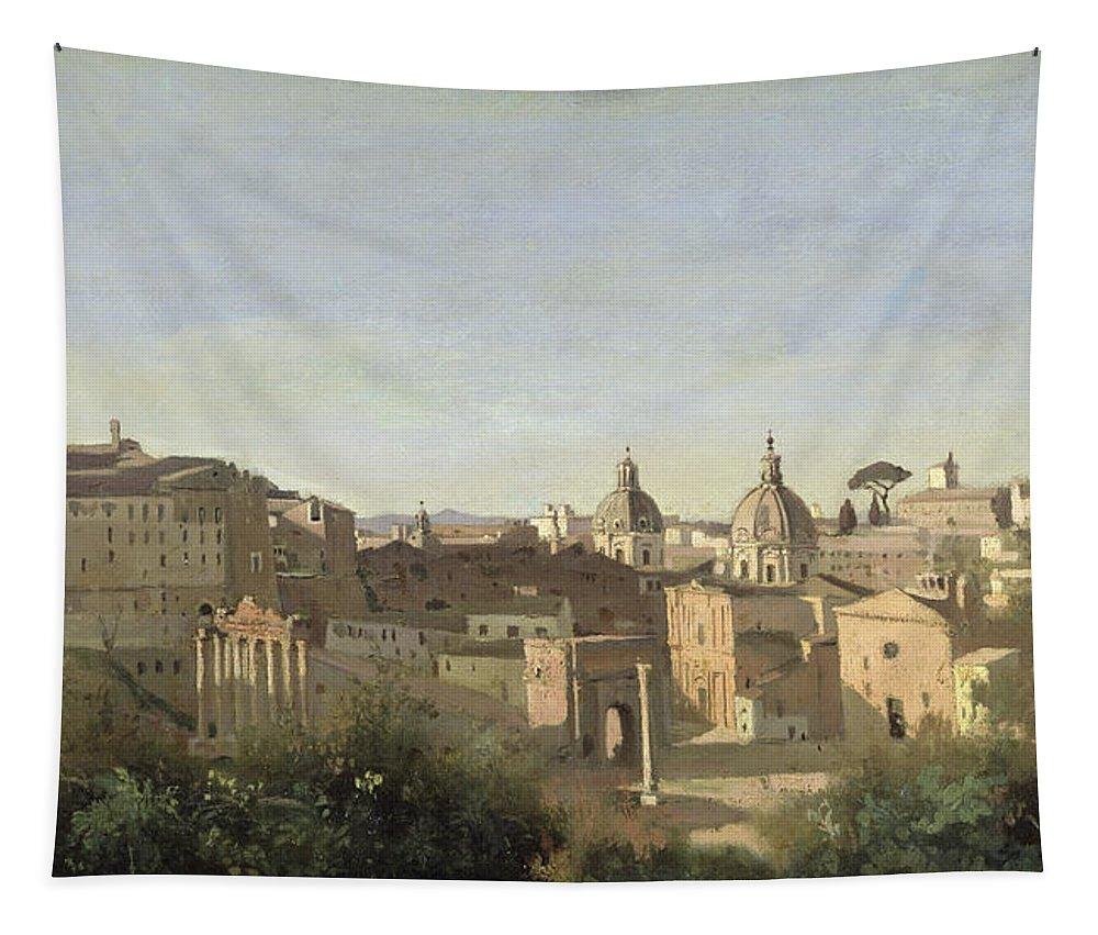 Forum Tapestry featuring the painting The Forum Seen From The Farnese Gardens by Jean Baptiste Camille Corot