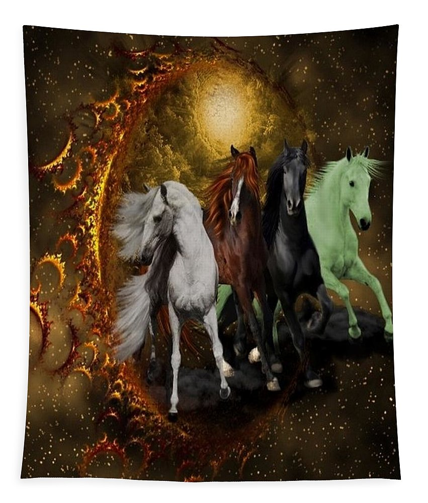 Animals Tapestry featuring the digital art The Four Horses Of The Apocalypse by Ali Oppy
