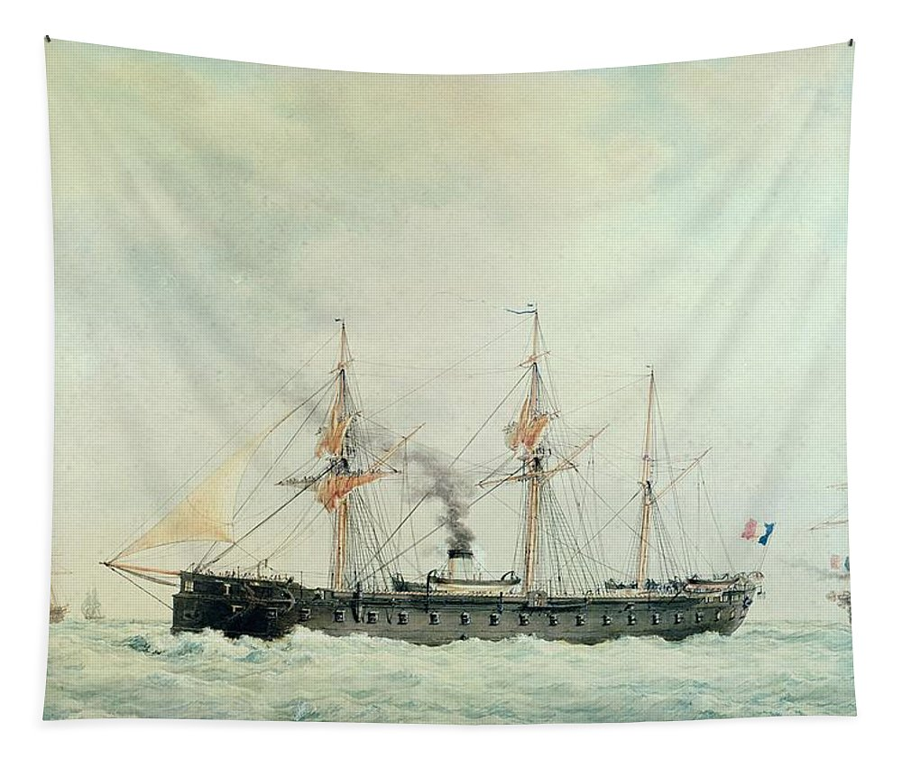 The Tapestry featuring the painting The French Battleship by Francois Geoffroy Roux