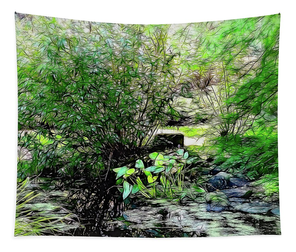 Frog Pond Tapestry featuring the photograph The Frog Pond by Leslie Montgomery