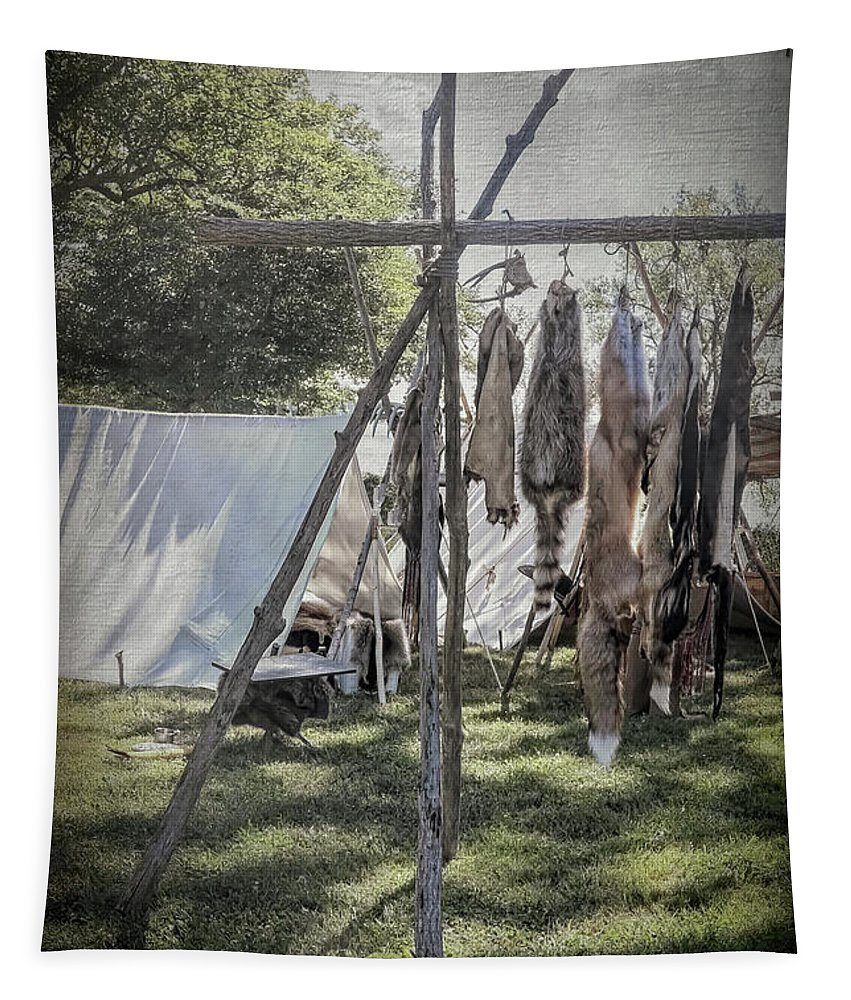 Camp Tapestry featuring the photograph The Fur Trader's Camp 1812 by Leslie Montgomery