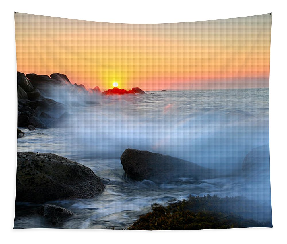 Waves Tapestry featuring the photograph The Fury Of The Sea by Mike Dawson