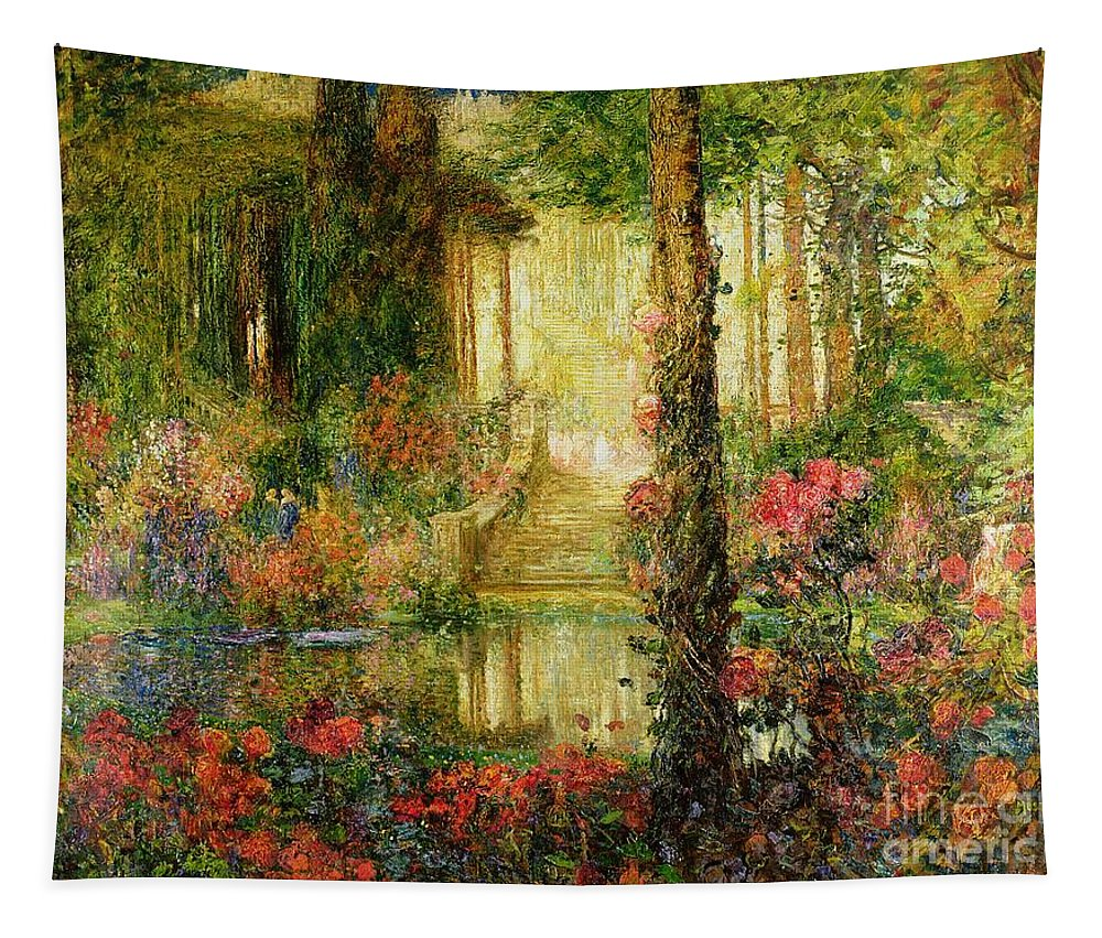 The Tapestry featuring the painting The Garden Of Enchantment by Thomas Edwin Mostyn