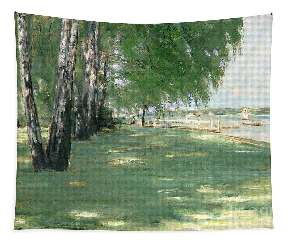 The Tapestry featuring the painting The Garden Of The Artist In Wannsee by Max Liebermann