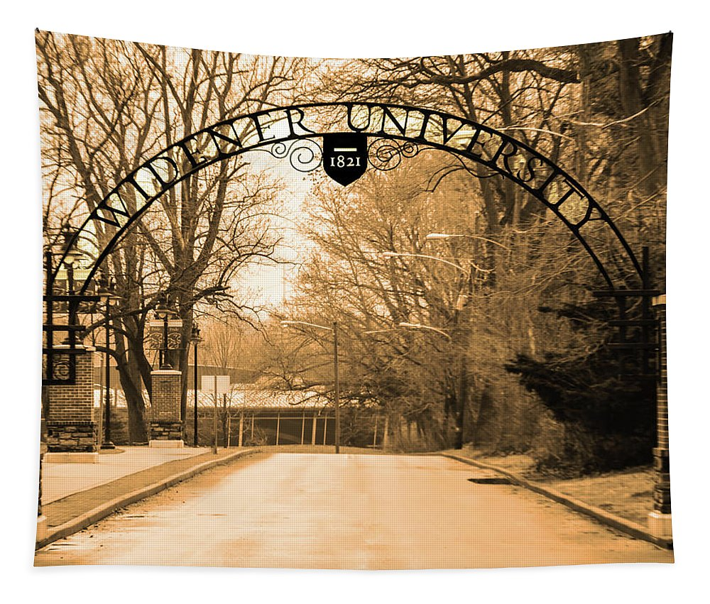 The Tapestry featuring the photograph The Gate At Widener University by Bill Cannon