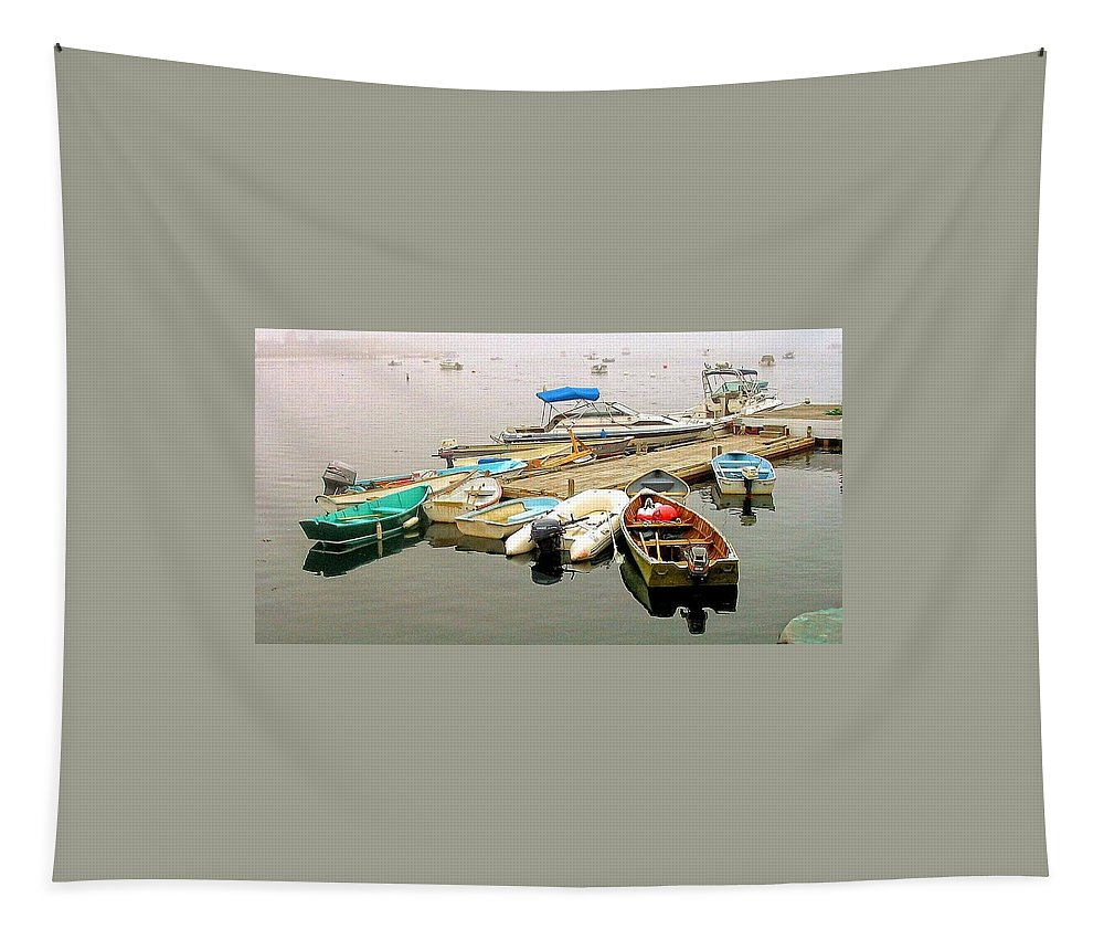 Boats Tapestry featuring the photograph The Gathering At Southwest Harbor by Robert McCulloch