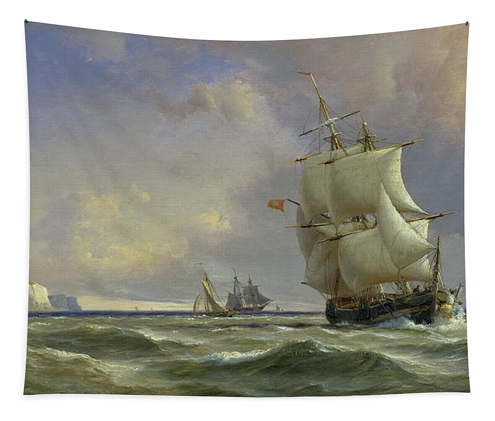 The Tapestry featuring the painting The Gathering Storm by Anton Melbye