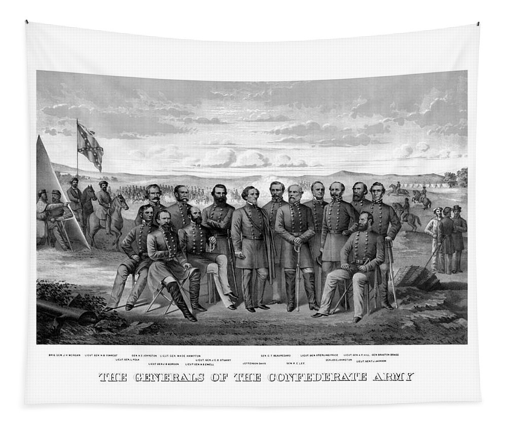 Civil War Tapestry featuring the mixed media The Generals Of The Confederate Army by War Is Hell Store