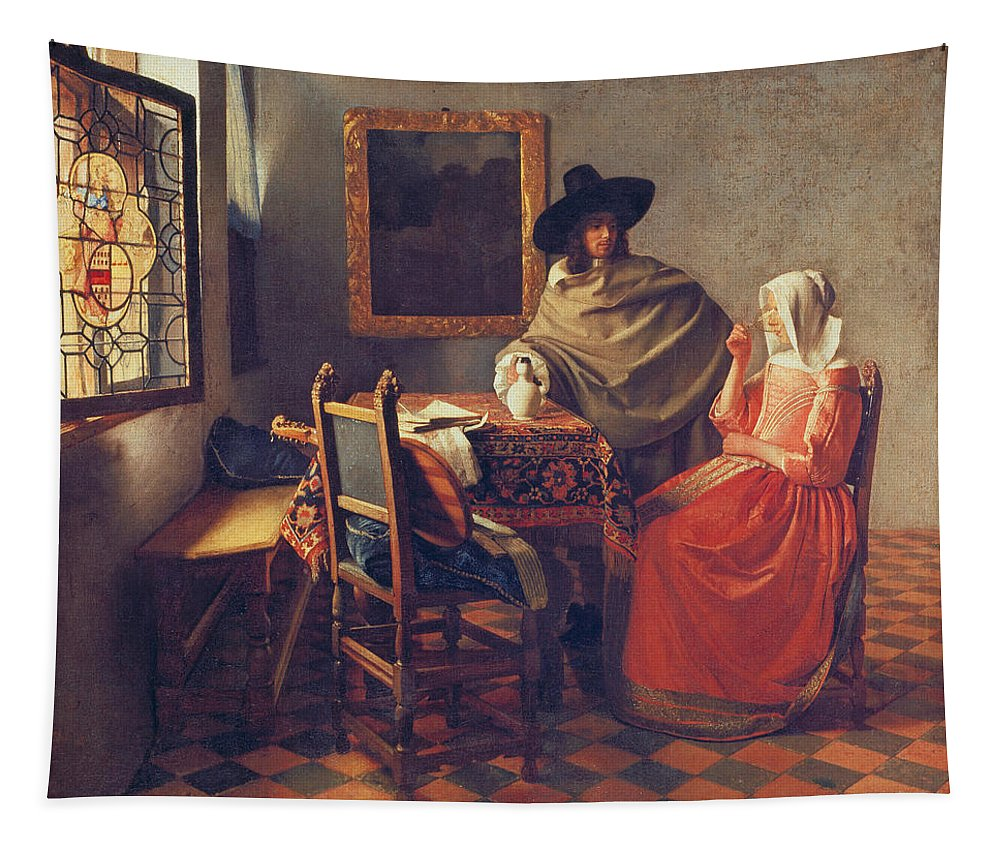 Vermeer Tapestry featuring the painting The Glass of Wine by Jan Vermeer