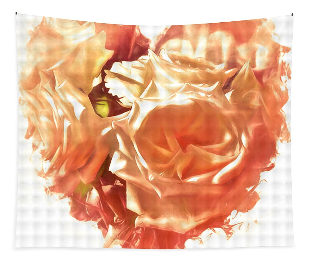 Digital-art Tapestry featuring the digital art The Glow Of Roses by Debra Lynch