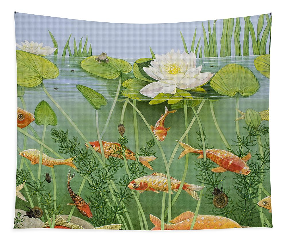 Aquatic Tapestry featuring the painting The Golden Touch by Pat Scott