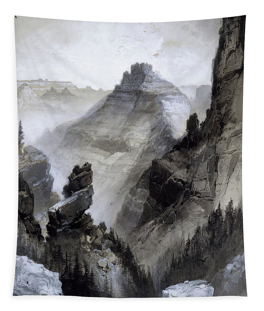 Grand Canyon Tapestry featuring the drawing The Grand Canyon Drawing      by Thomas Moran