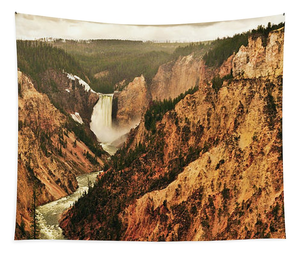 Yellowstone National Park Tapestry featuring the photograph The Grand Canyon Of The Yellowstone by Greg Norrell