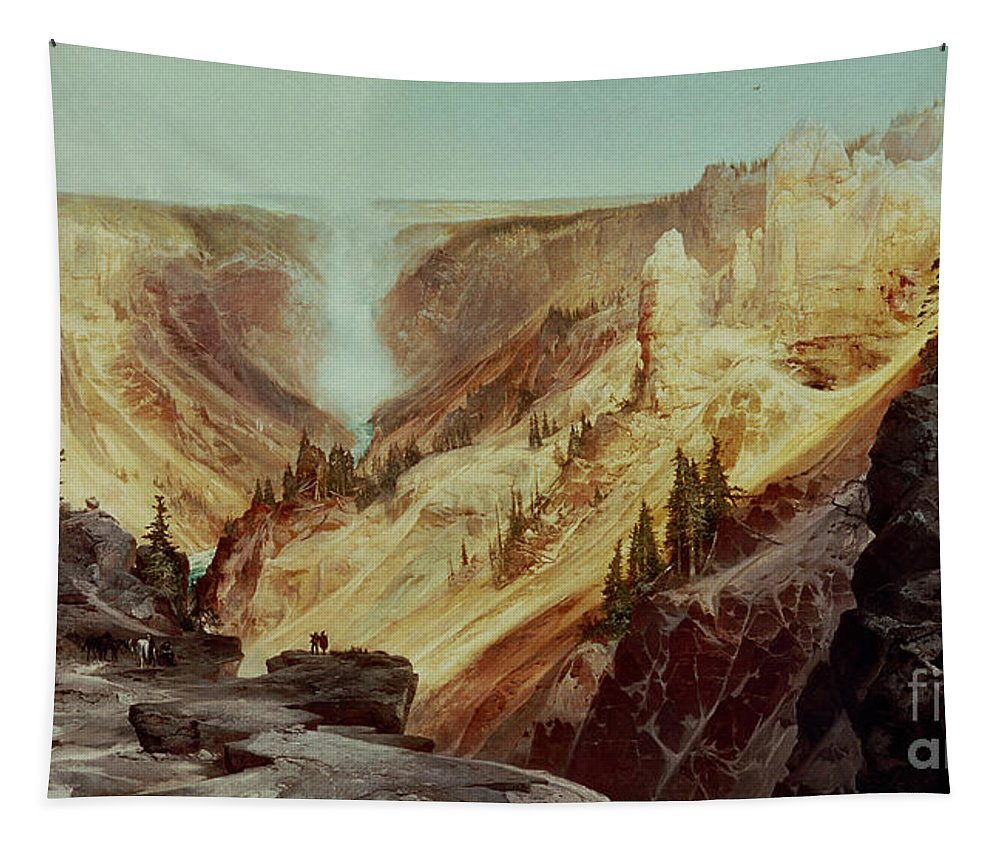 The Grand Canyon Of The Yellowstone Tapestry featuring the painting The Grand Canyon Of The Yellowstone by Thomas Moran