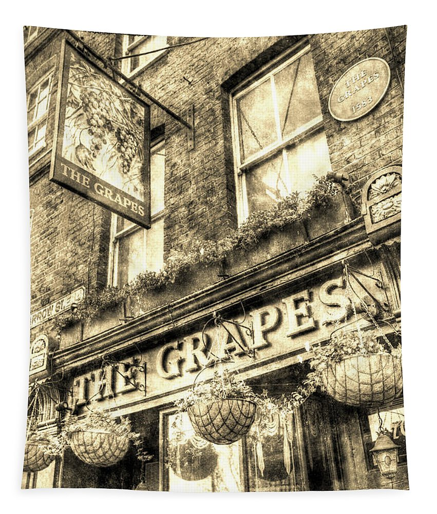 Grapes Pub Tapestry featuring the photograph The Grapes Pub London Vintage by David Pyatt
