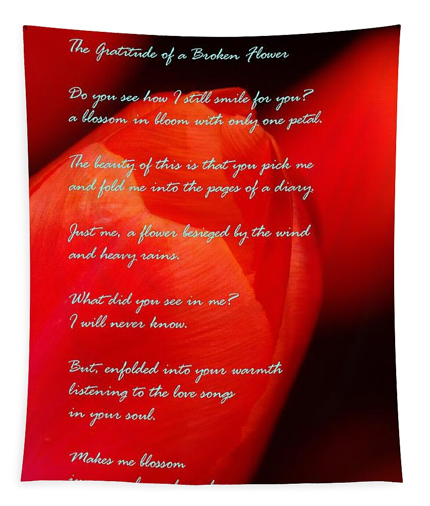 Flowers Tapestry featuring the photograph The Gratitude Of A Broken Flower by Jeff Swan