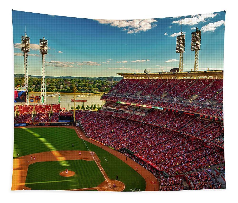 Cincinnati Tapestry featuring the photograph The Great American Ball Park - Cincinnati by Daniel Collins