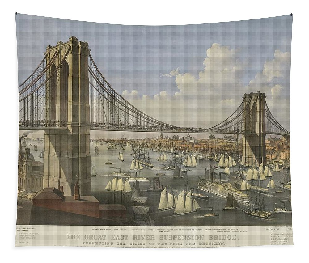 Bridge Tapestry featuring the painting The Great East River Suspension Bridge by Currier and Ives