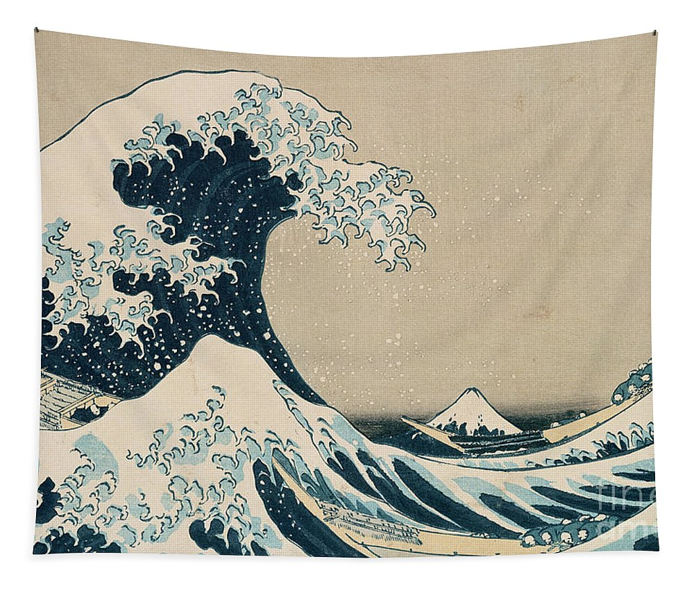 Wave Tapestry featuring the painting The Great Wave of Kanagawa by Hokusai