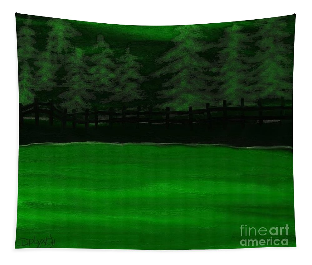 Green Tapestry featuring the digital art The Green Lake by Debra Lynch