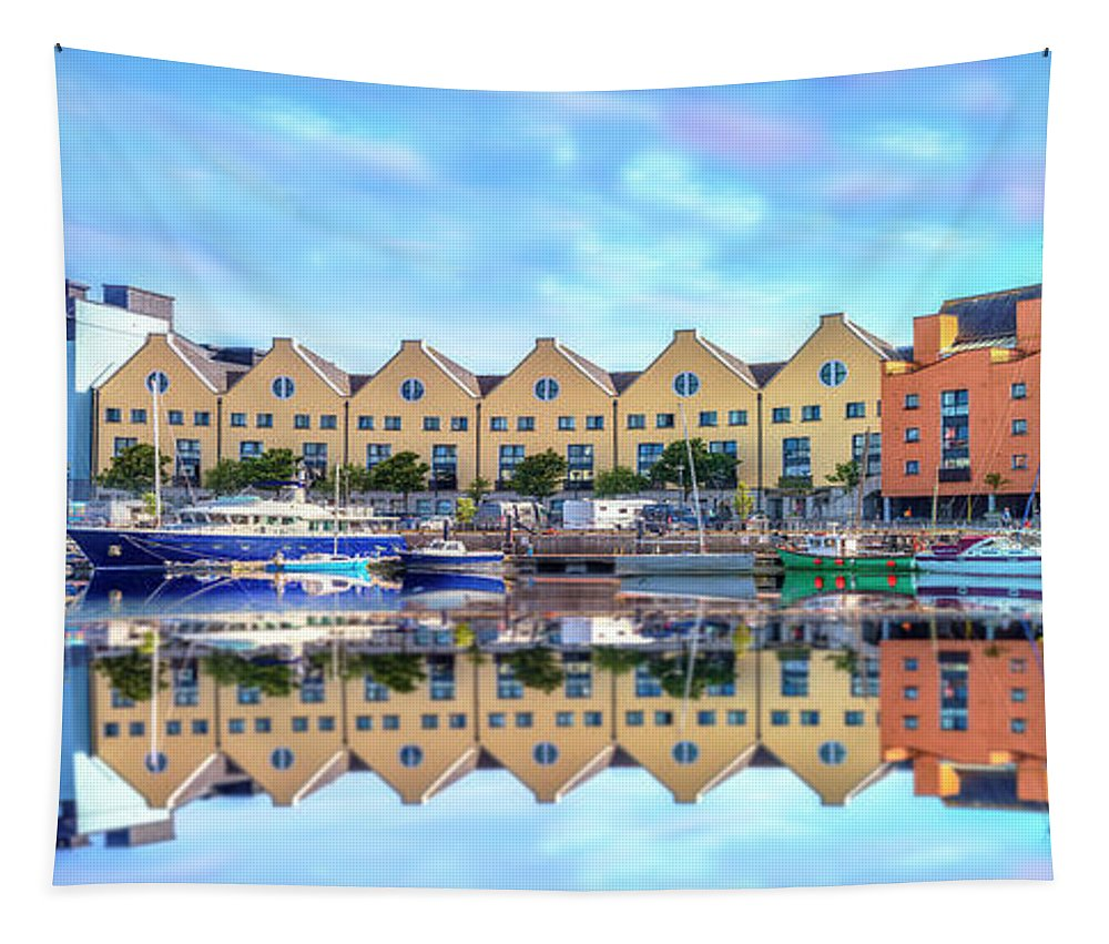 Boats Tapestry featuring the photograph The Harbor At Galway by Debra and Dave Vanderlaan