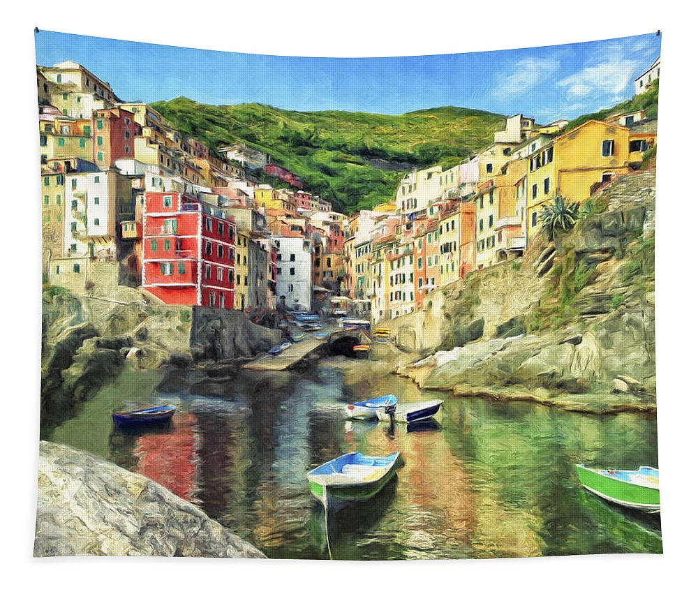 Italy Tapestry featuring the painting The Harbor At Rio Maggiore by Dominic Piperata