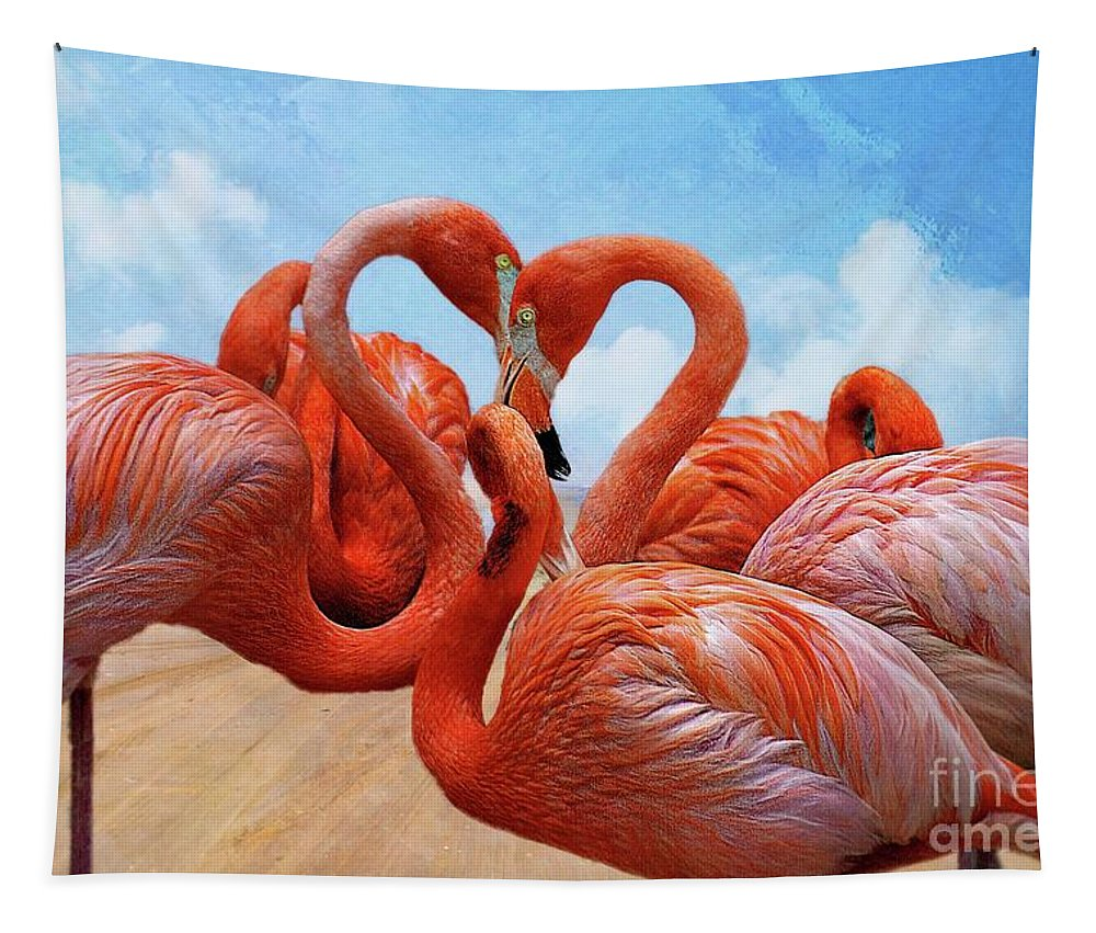 John+kolenberg Tapestry featuring the photograph The Heart Of The Flamingos by John Kolenberg