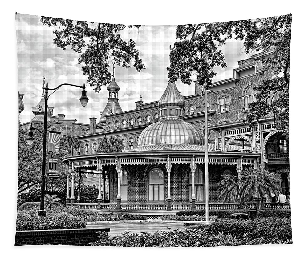 Hh Photography Of Florida Tapestry featuring the photograph The Henry B. Plant Museum Bw by HH Photography of Florida