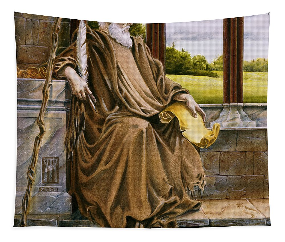 Wise Man Tapestry featuring the painting The Hermit Nascien by Melissa A Benson