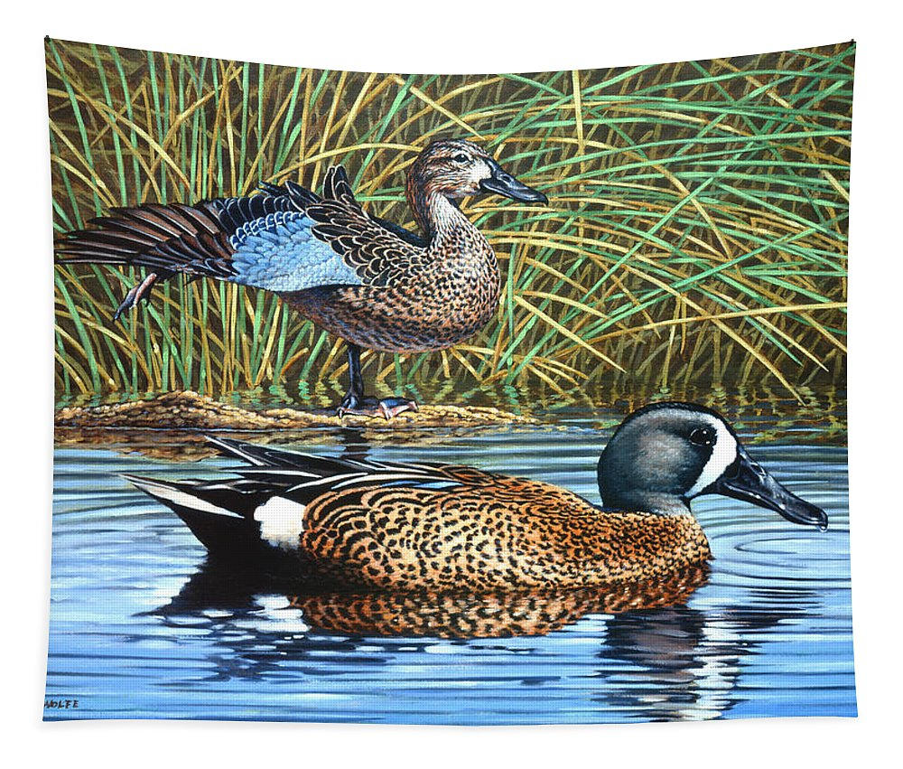Ducks Tapestry featuring the painting The Hide-away by Richard De Wolfe