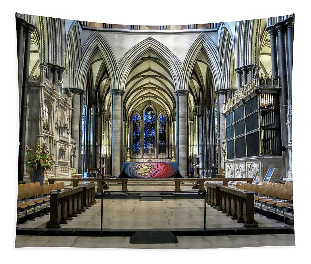 The High Altar In Salisbury Cathedral Tapestry featuring the photograph The High Altar In Salisbury Cathedral by Phyllis Taylor