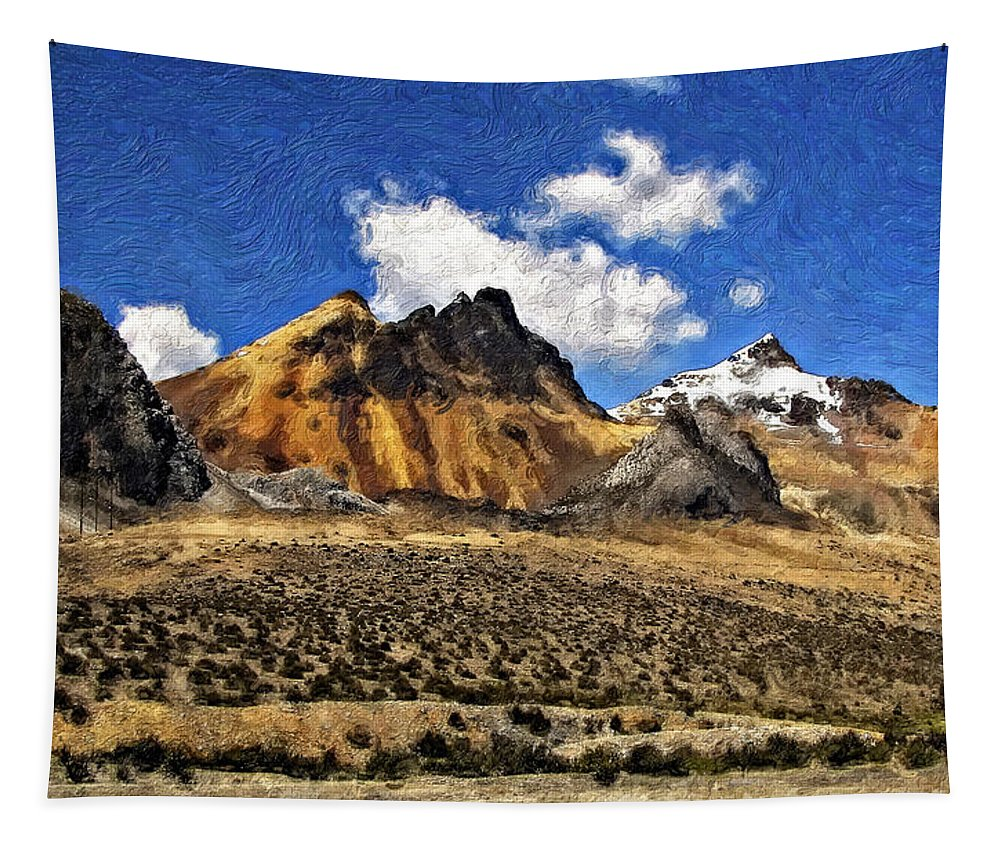 Landscape Tapestry featuring the photograph The High Andes Painted Version by Steve Harrington