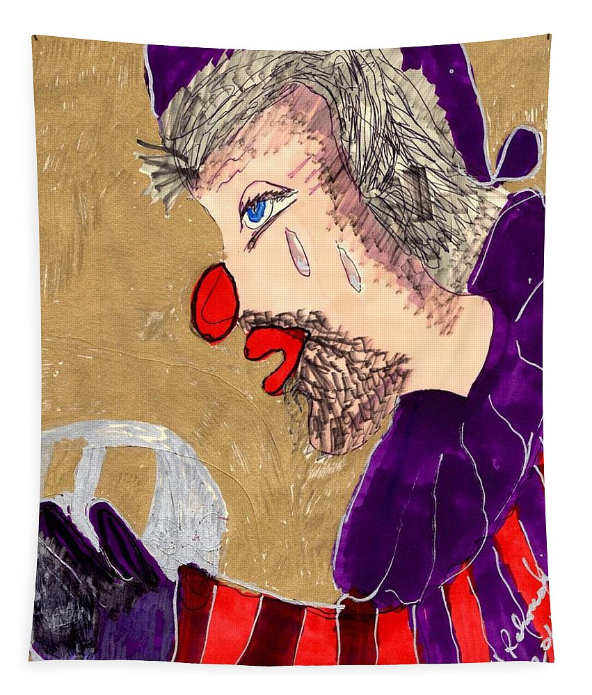A Clown With Whiskers And Beard Tapestry featuring the mixed media The Hobo Circus Clown by Elinor Helen Rakowski