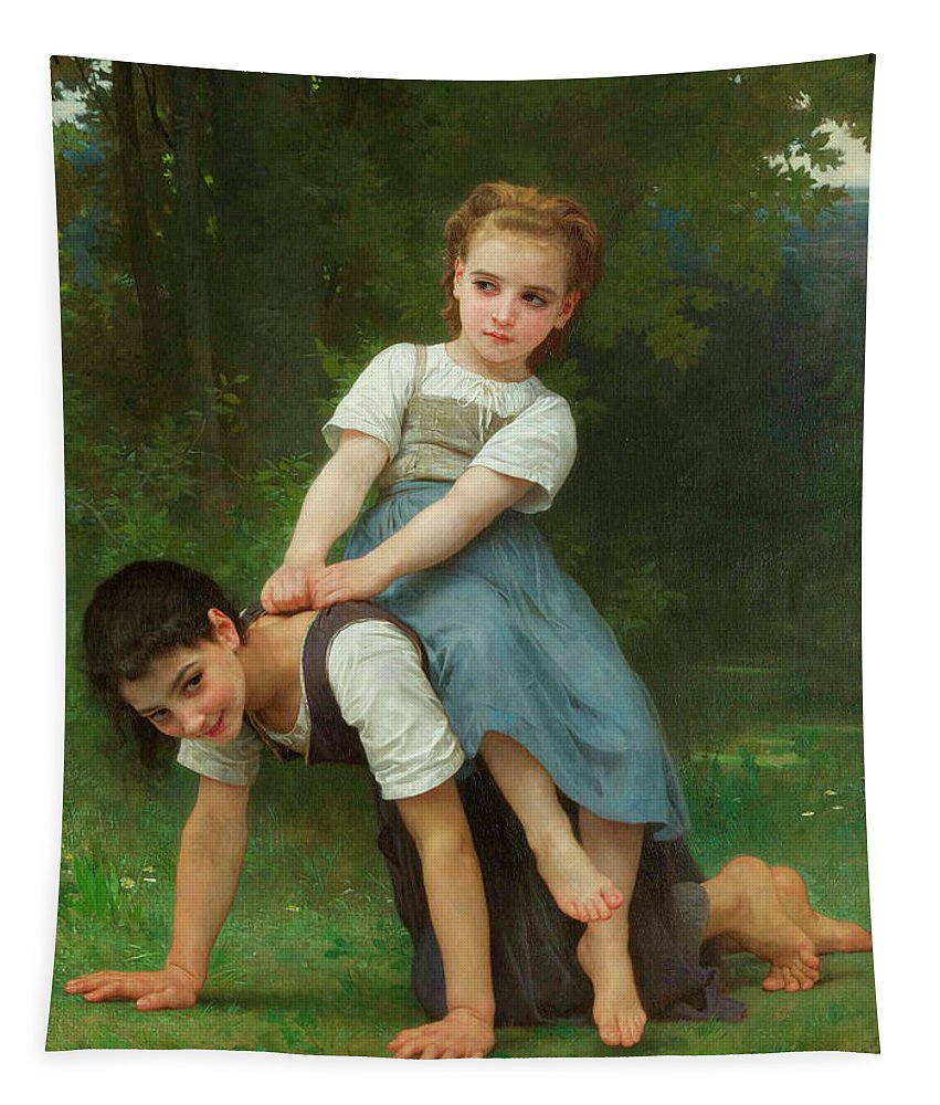 William-adolphe Bouguereau Tapestry featuring the painting The Horseback Ride by Adolphe William Bouguereau