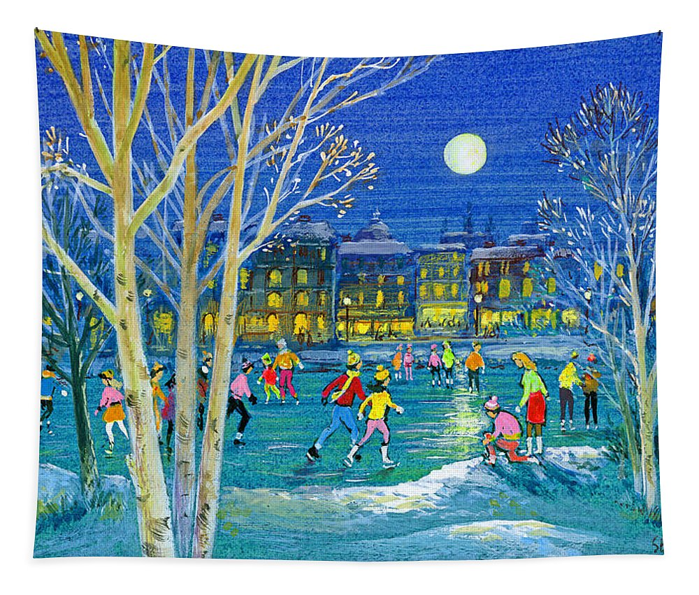 Ice Skating Tapestry featuring the painting The Iceskaters by Stanley Cooke