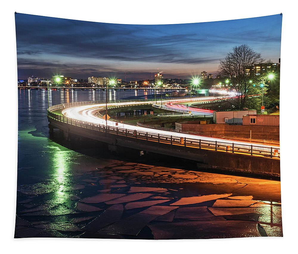 Charles Tapestry featuring the photograph The Icy Charles River At Night Boston Ma Cambridge by Toby McGuire